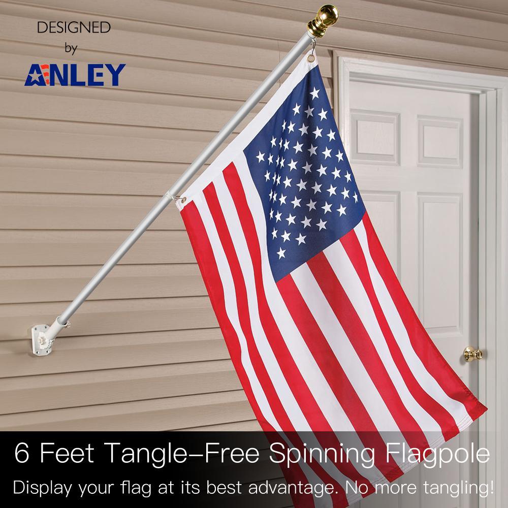 6ft Aluminum Flag Pole Heavy Duty Wall-mount Spinner Tangle Free W// USA Flag