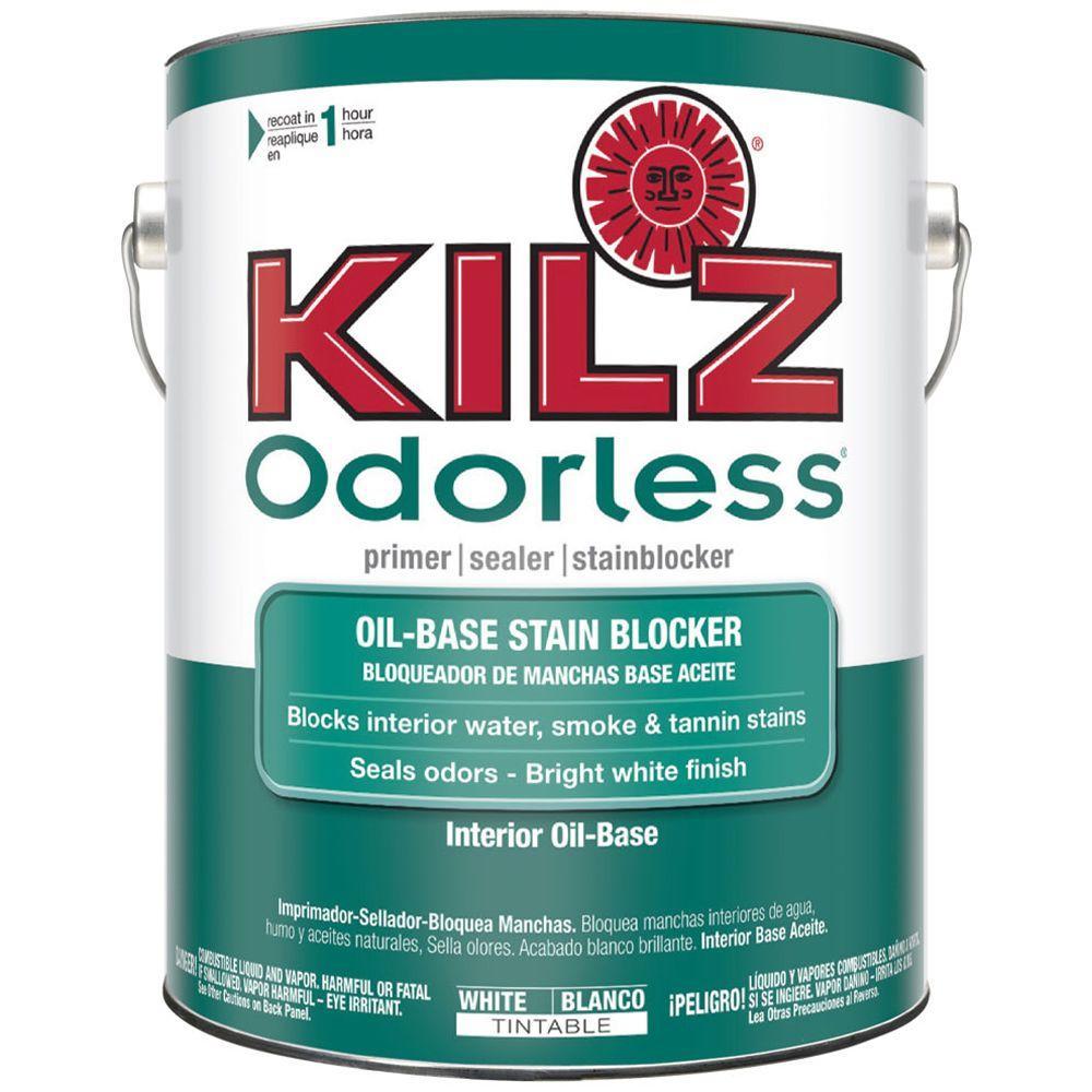 KILZ Odorless 1 gal. White Oil-Based Interior Primer, Sealer and ...