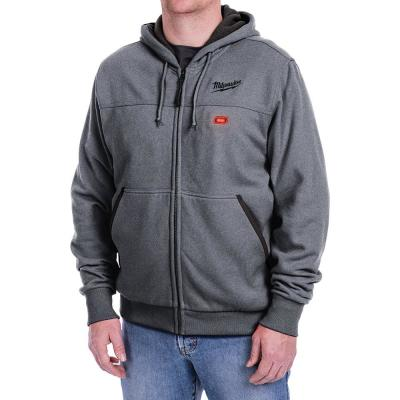 Men's Large M12 12-Volt Lithium-Ion Cordless Gray Heated Hoodie (Hoodie Only)