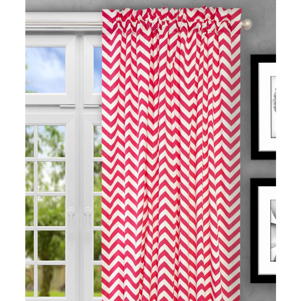 Reston 50 in. W x 84 in. L Cotton Tailored Curtain Panel in Pink