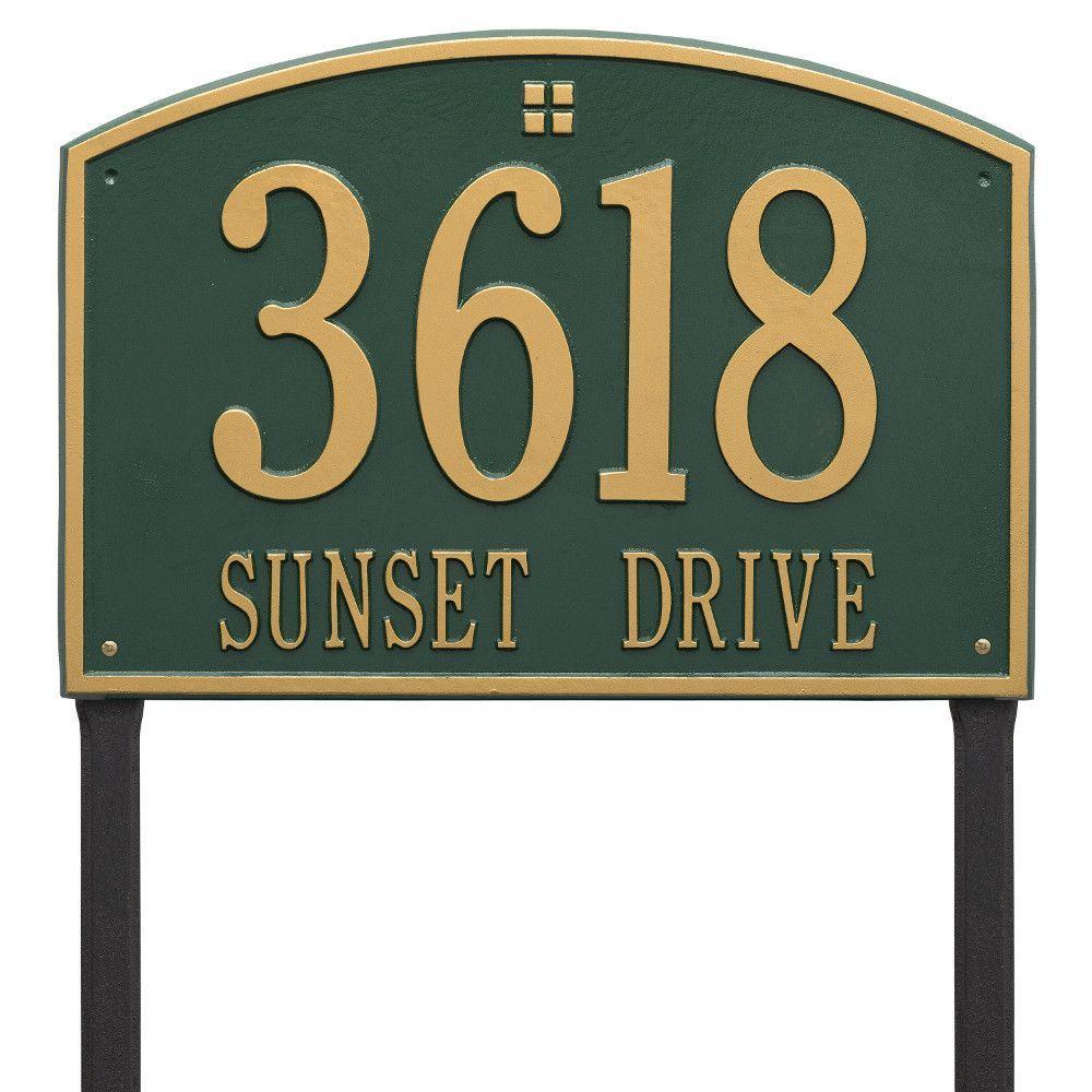 Cape Charles Estate Rectangular Green/Gold Lawn 2-Line Address Plaque