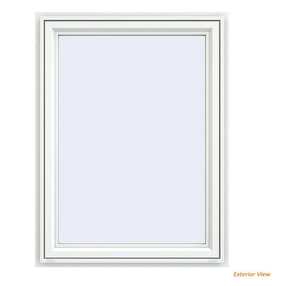 35.5 in. x 47.5 in. V-4500 Series White Vinyl Left-Handed Casement Window with Fiberglass Mesh Screen
