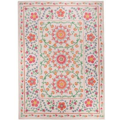 Washable Suzi Coral 5 ft. x 7 ft. Stain Resistant Area Rug