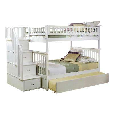 Columbia Staircase White Full Over Full Bunk Bed with Twin Urban Trundle Bed
