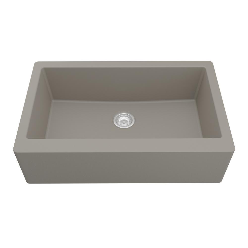 Farmhouse/Apron-Front Quartz Composite 34 in. Single Bowl Kitchen Sink in Concrete