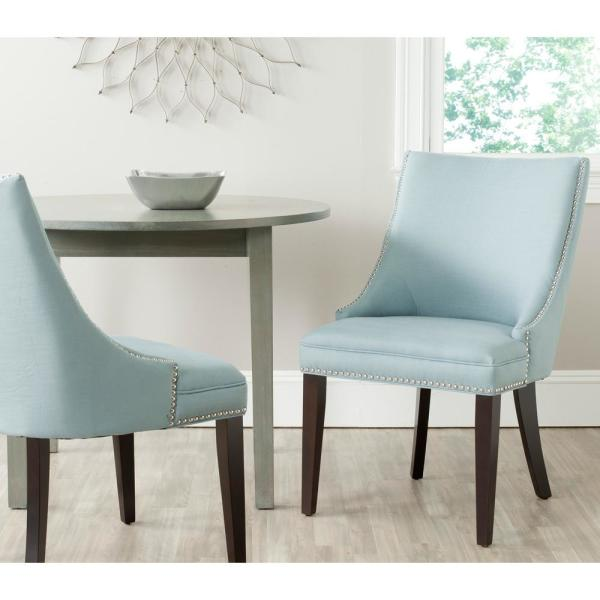 Safavieh Afton Light Blue/Espresso Cotton/Linen Side Chair (Set of 2)
