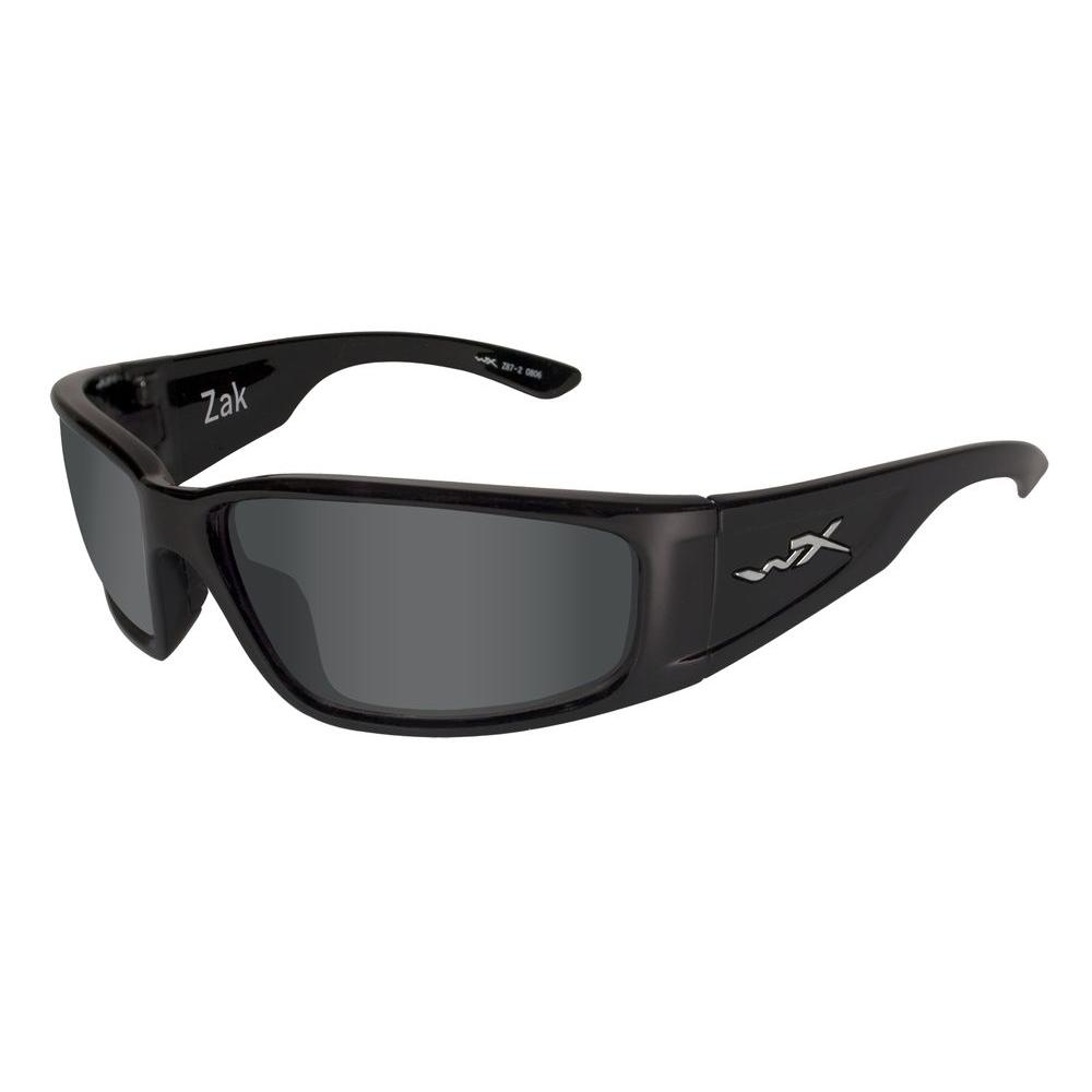 Wiley X ACZAK04 Zak Polarized Sunglasses with Smoke Lens and Gloss Black Frame