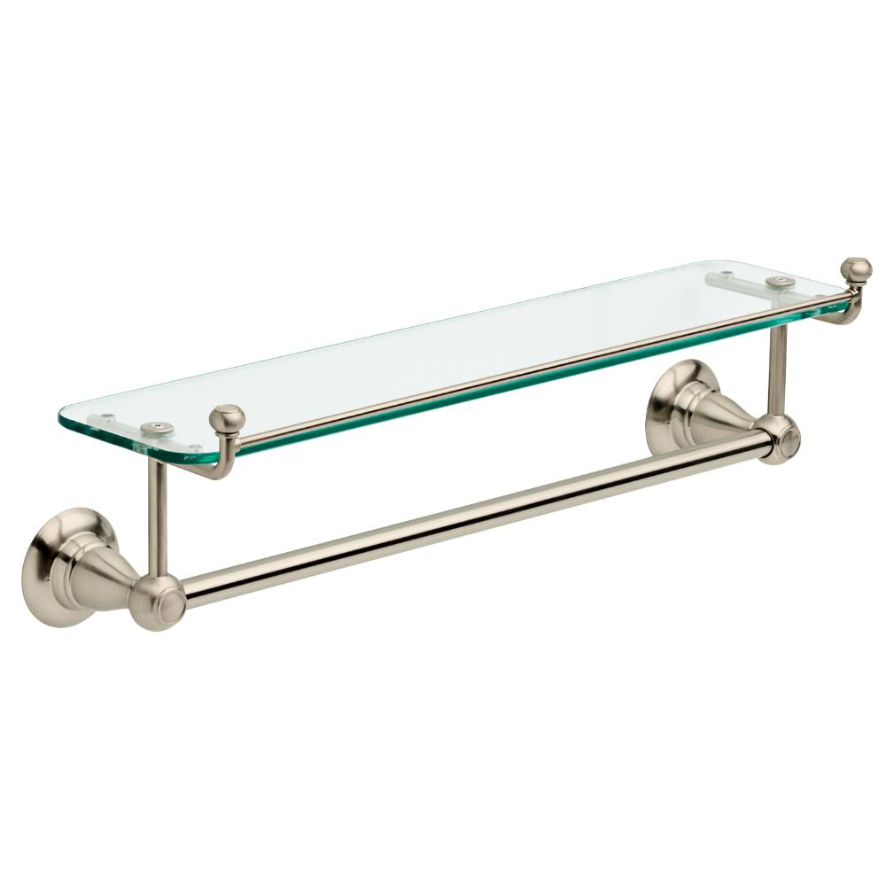 Towel Bar With Gl Shelf In Brushed Nickel