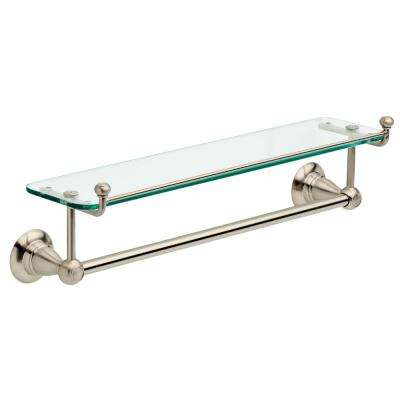Porter 18 in. Towel Bar with Glass Shelf in Brushed Nickel