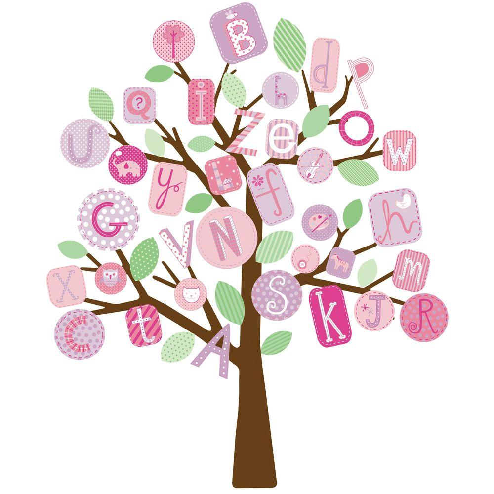 null 27 in. x 40 in. ABC Pink Tree 56-Piece Peel and Stick Giant Wall Decals-DISCONTINUED