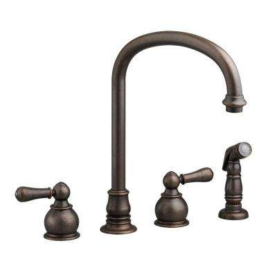 Hampton 2-Handle Standard Kitchen Faucet with Side Sprayer in Oil Rubbed Bronze
