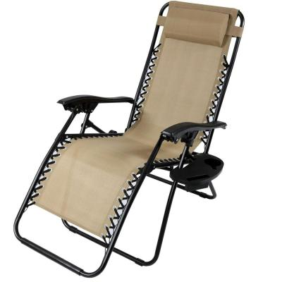 Zero Gravity Khaki Lawn Chair with Pillow and Cup Holder