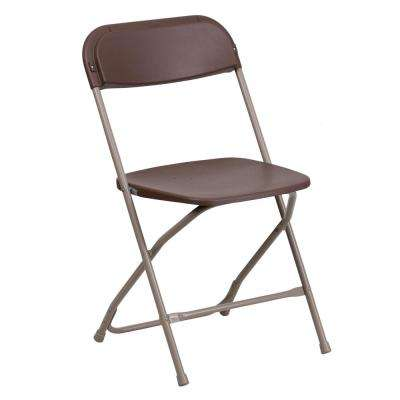 Brown Plastic Seat with Metal Frame Folding Chair (Set of 2)