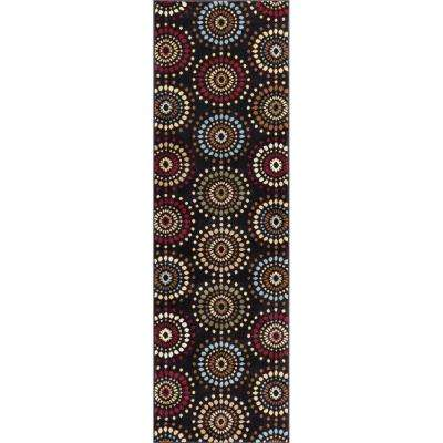 Barclay Orchid Fields Black 3 ft. x 10 ft. Contemporary Suzani Runner Rug