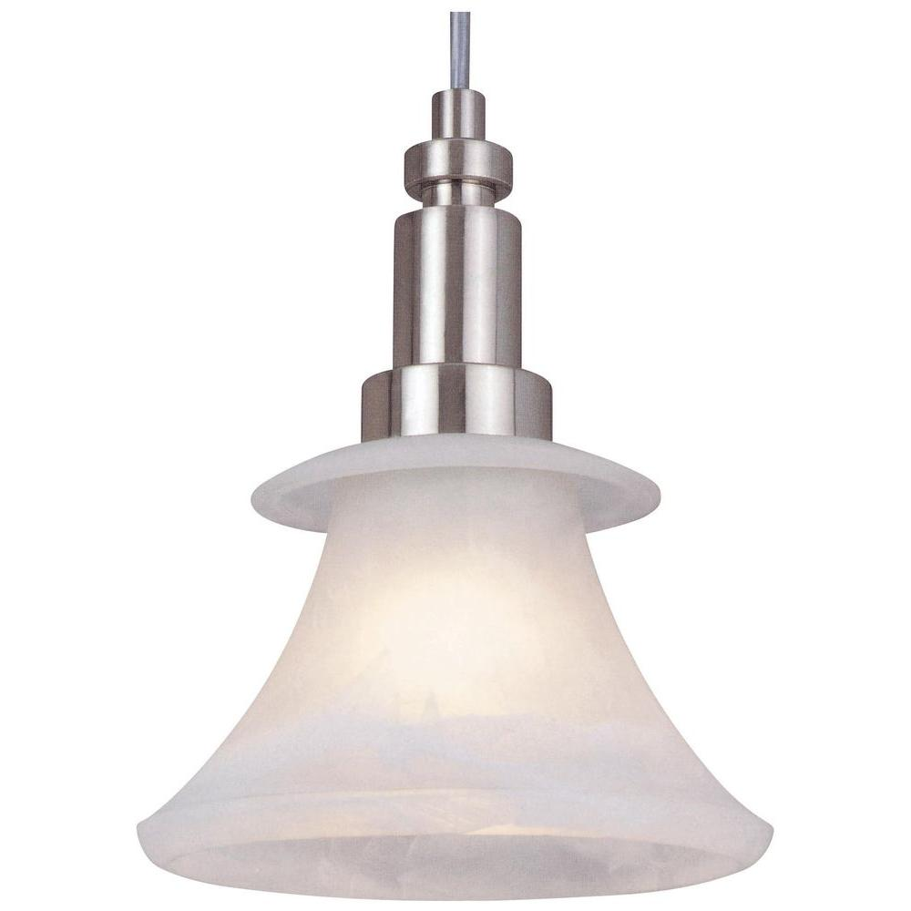 Hampton Bay Flair Collection 1-Light Brushed Nickel Mini Pendant-DISCONTINUED