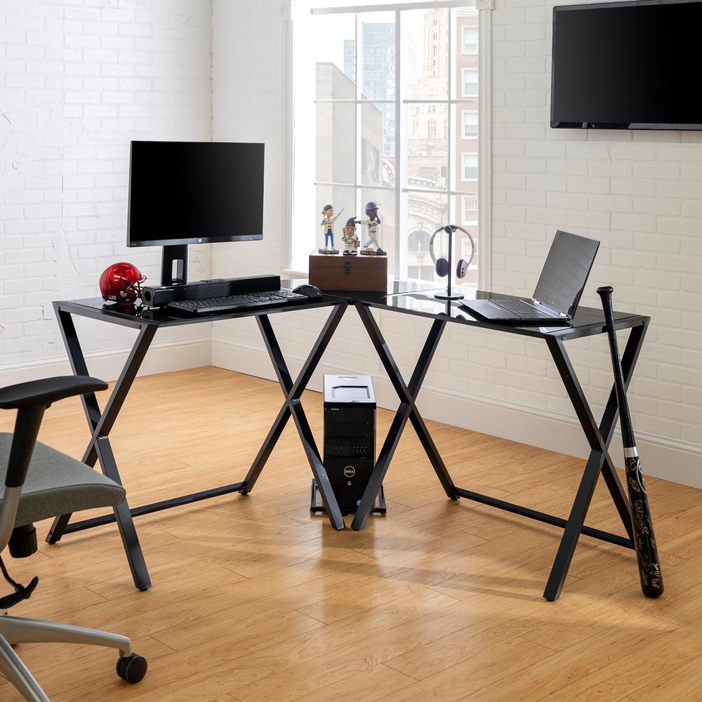 "51"" Modern Corner Computer Desk - Black"