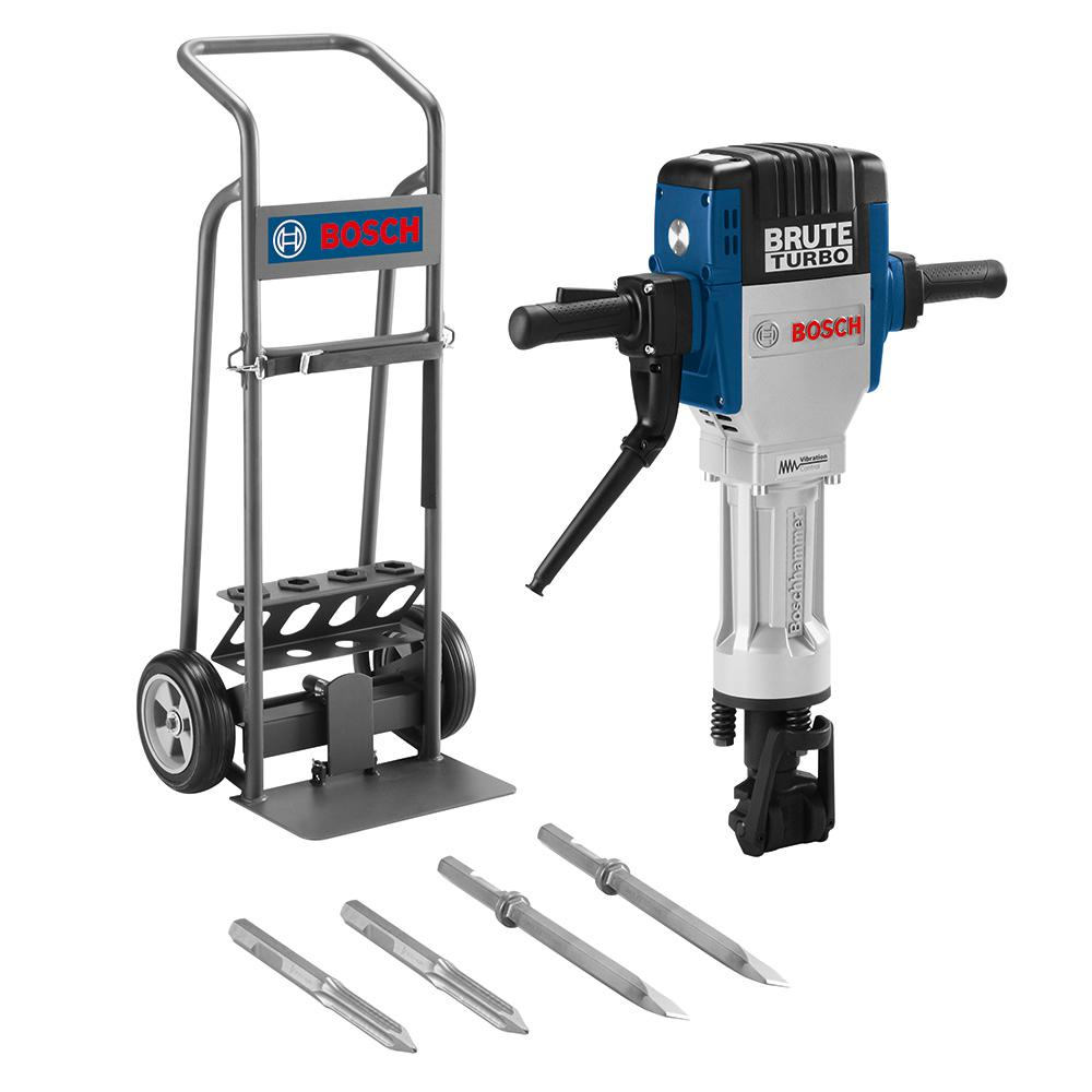 Bosch Brute Turbo 15 Amp 1-1/8 in  Corded Concrete/Masonry Variable Speed  Electric Hex Breaker Hammer Kit w/ Cart & 4 Chisels