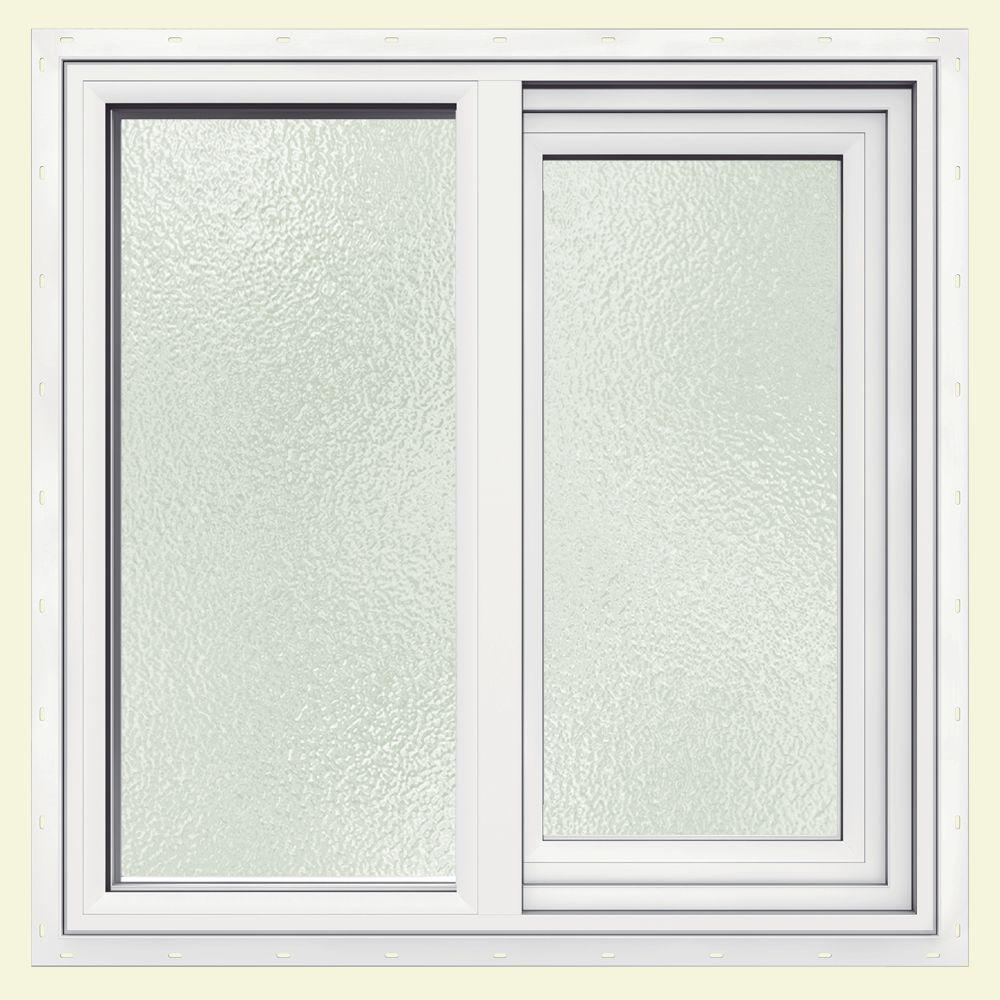 JELD-WEN 35.5 in. x 23.5 in. V-1500 Series White Vinyl Left-Handed Sliding Window with Obscure Glass and Screen