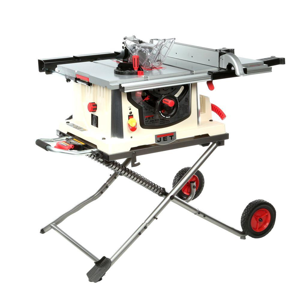 Remarkable Jet 15 Amp 10 In Professional Jobsite Table Saw With Rolling Stand 115 Volt Jbts 10Mjs Squirreltailoven Fun Painted Chair Ideas Images Squirreltailovenorg