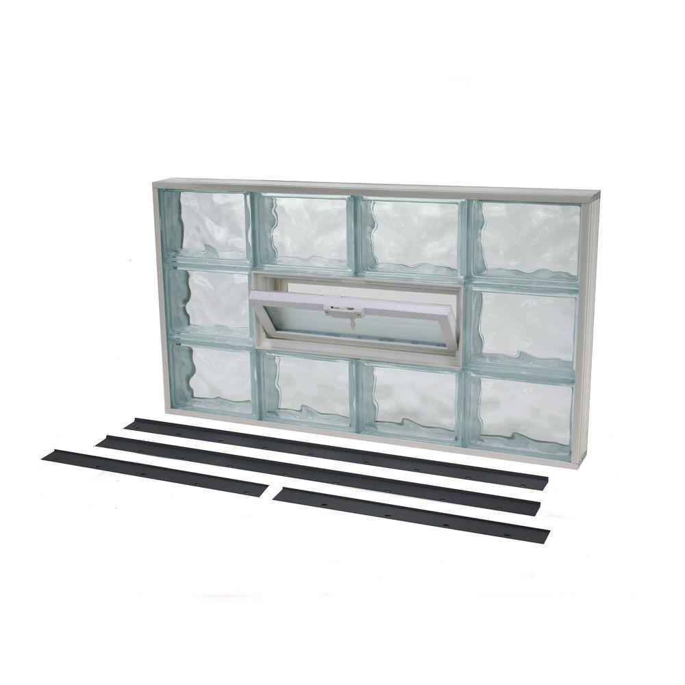 TAFCO WINDOWS 45.125 in. x 37.375 in. NailUp2 Vented Wave Pattern Glass Block Window