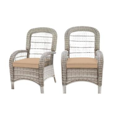Beacon Park Gray Wicker Outdoor Patio Captain Dining Chair with Sunbrella Beige Tan Cushions (2-Pack)