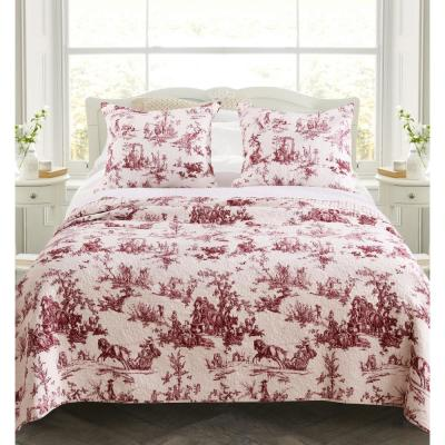 Classic Toile 3-Piece Red King Quilt Set