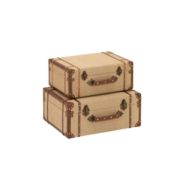 Litton Lane Rectangular Wooden Burlap Trunk Boxes With Hinged Lids Set Of 2 62258 The Home Depot