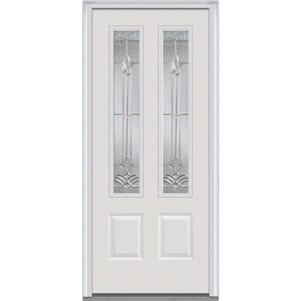 36 in. x 80 in. Bristol Left-Hand 2-3/4 Lite 2-Panel Classic Primed Fiberglass Smooth Prehung Front Door