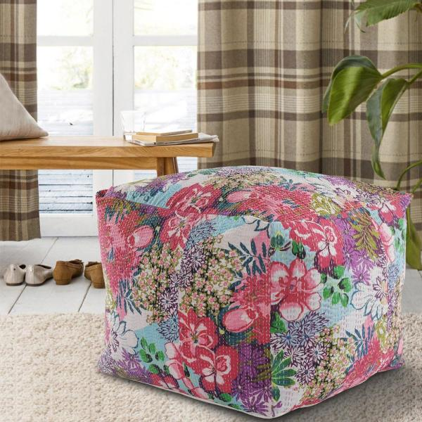Lr Resources Floral Kantha Pink Blue Running Stitch Handmade Pouf Ottoman Poufs99723mlt2420 The Home Depot