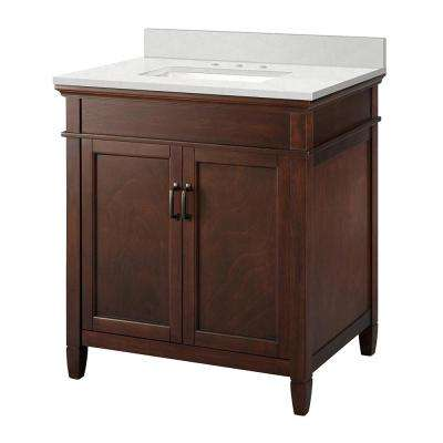 Ashburn 31 in. W x 22 in. D Vanity Cabinet in Mahogany with Engineered Marble Vanity Top in Snowstorm with White Basin