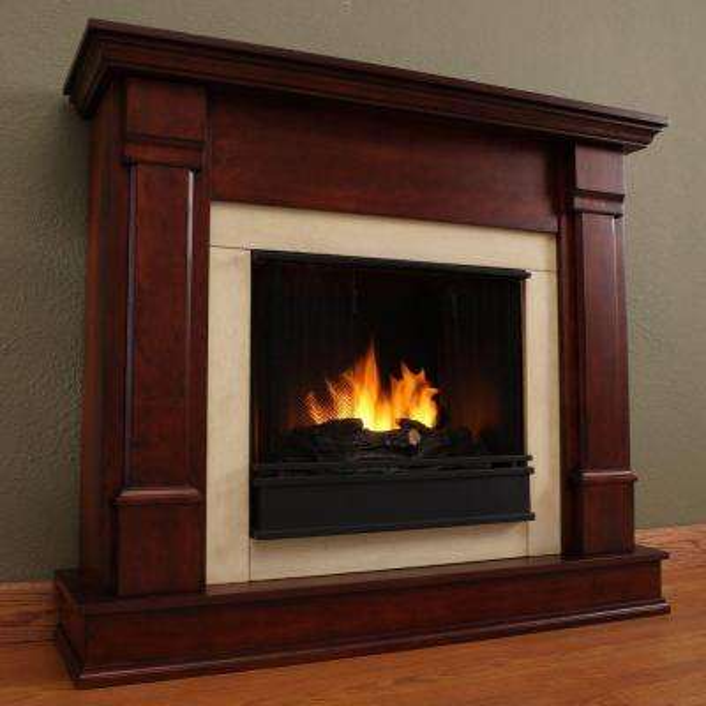 Silverton 48 in. Gel Fuel Fireplace in Dark Mahogany