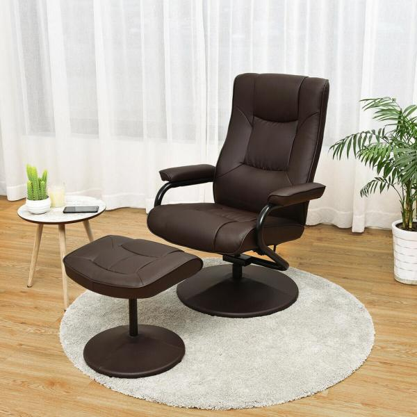 Costway Recliner Home Brown Chair Swivel Armchair Lounge
