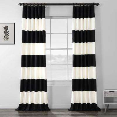 Onyx Black and Off White Room Darkening Horizontal Stripe Curtain - 50 in. W x 96 in. L