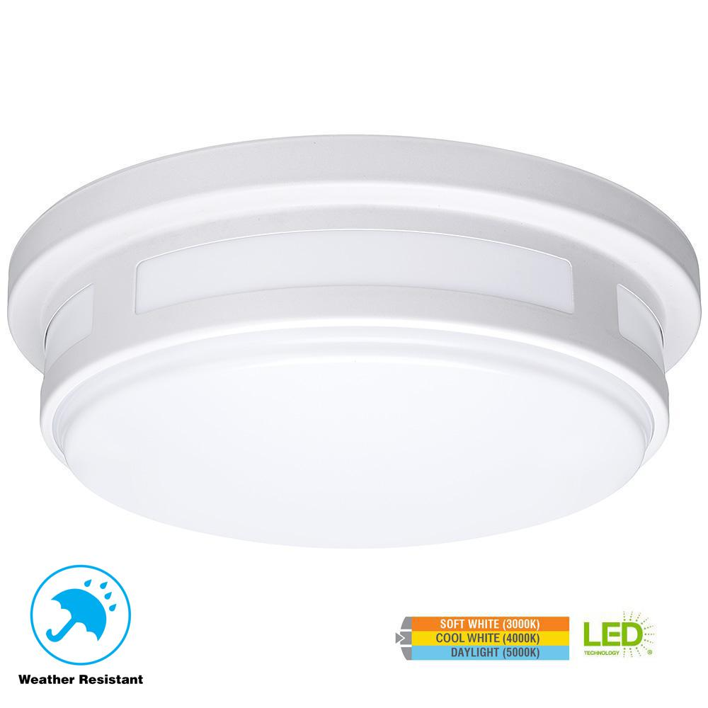 Round White Integrated Led Outdoor Flushmount Porch Light With Color Temperature
