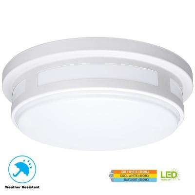 11 in. Round White Integrated LED Outdoor Flushmount Porch Light with Color Temperature Changing Feature