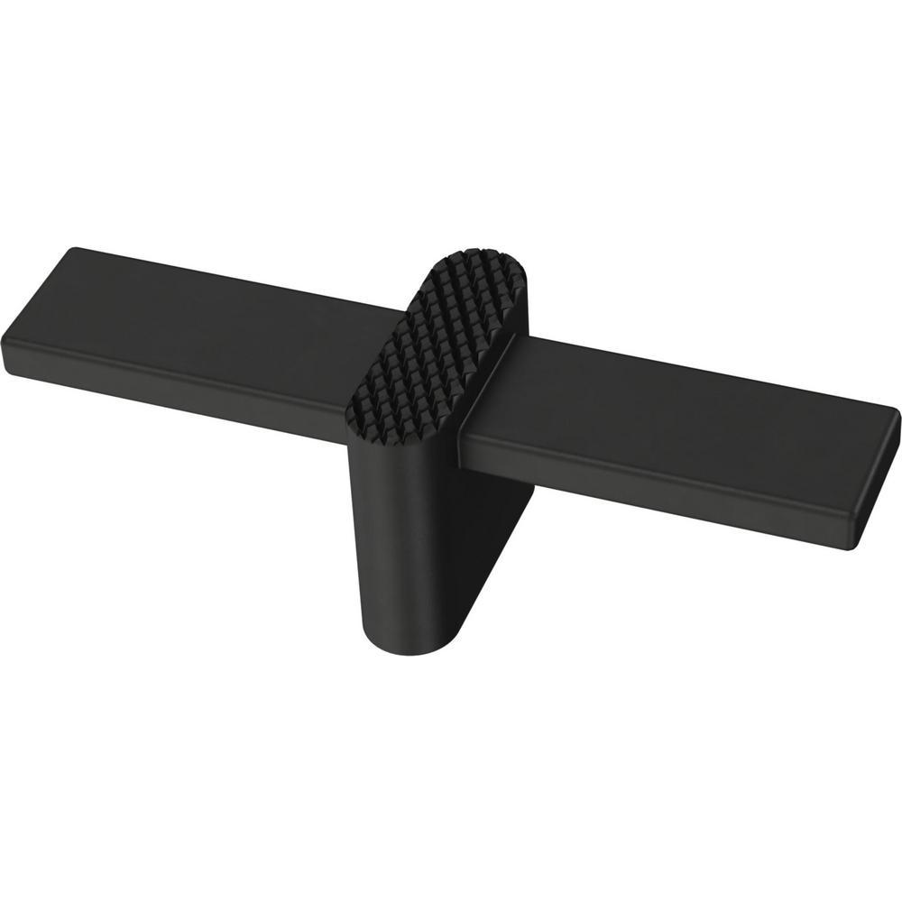 Modern Knurled 3-1/2 in. (89 mm) Matte Black Elongated T-Cabinet Knob