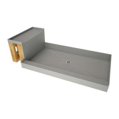 34 in. x 60 in. Single Threshold Shower Base in Grey and Bench Kit with Center Drain