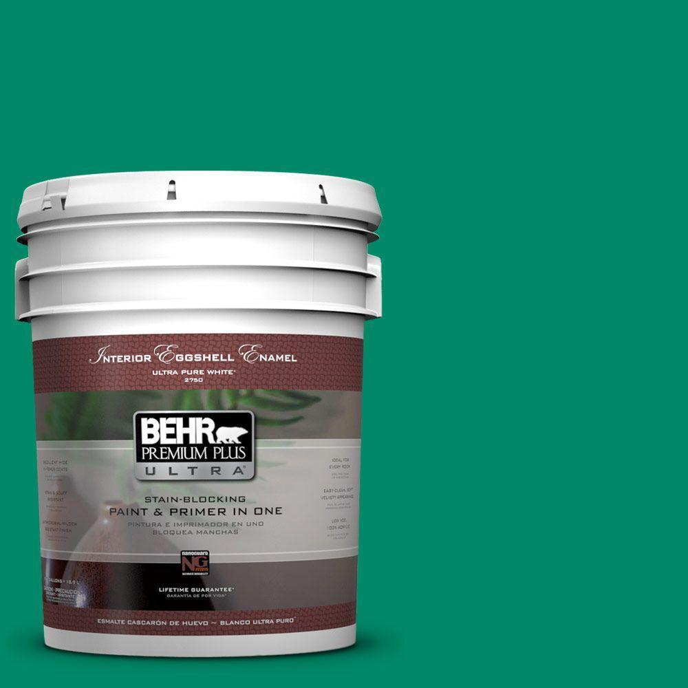 BEHR Premium Plus Ultra 5-gal. #S-G-470 Festive Green Eggshell Enamel Interior Paint