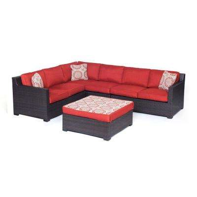 Metropolitan Brown 5-Piece Aluminum All-Weather Wicker Patio Seating Set with Autumn Berry Cushions
