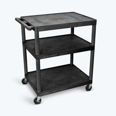 32 in. W x 24 in. D x 40.25 in. D 3 Flat Shelf A/V Cart, Black