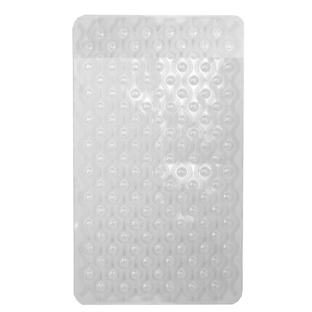 Bubble Clear .25 in x 15.5 in Plastic Bath Mat