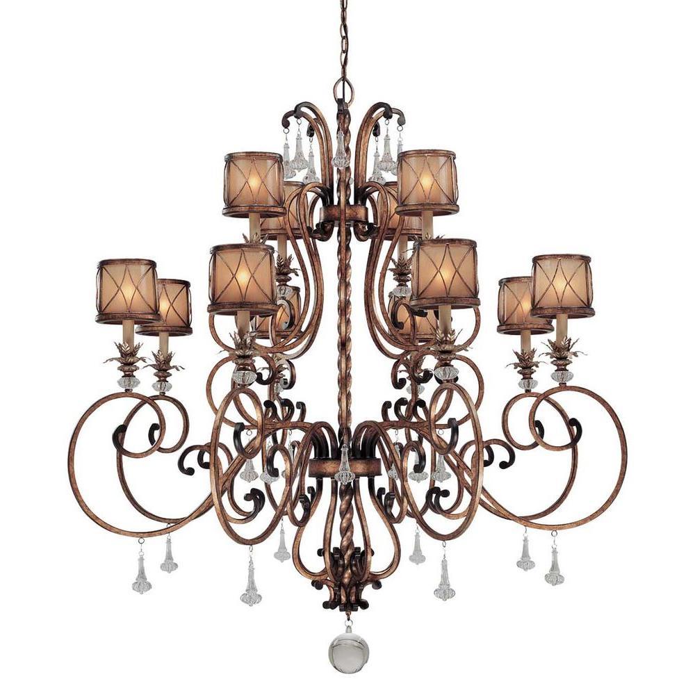 Aston Court 12-Light Bronze Chandelier