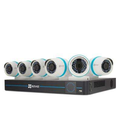 1080p Camera System 6 IP PoE Cameras and 8-Channel NVR 2TB HDD 100ft Night Vision Works with Alexa using IFTTT