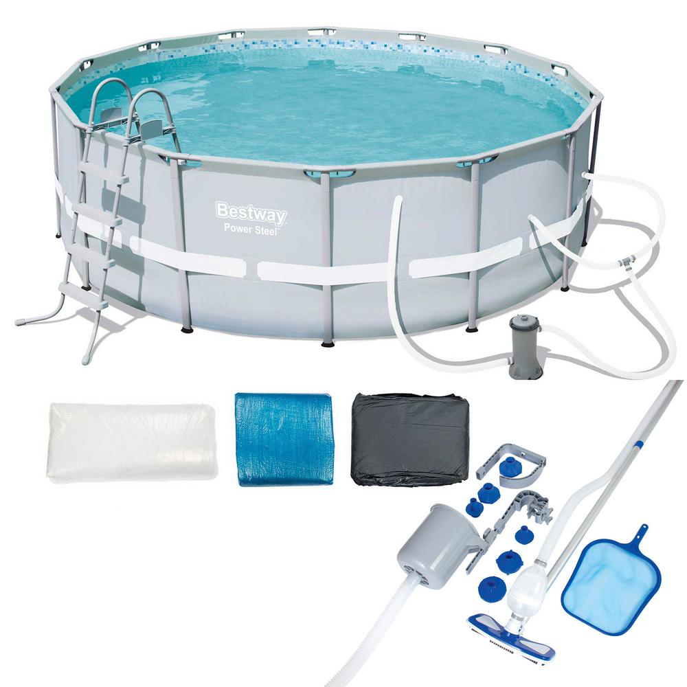 14 ft. x 48 in. Round Power Steel Frame Above Ground Pool Set and  Accessories