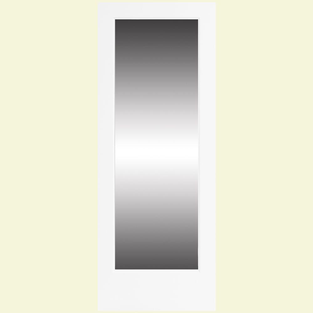 Steves & Sons 36 in. x 80 in. White 1 Lite Clear Glass Primed Pine Interior Door Slab