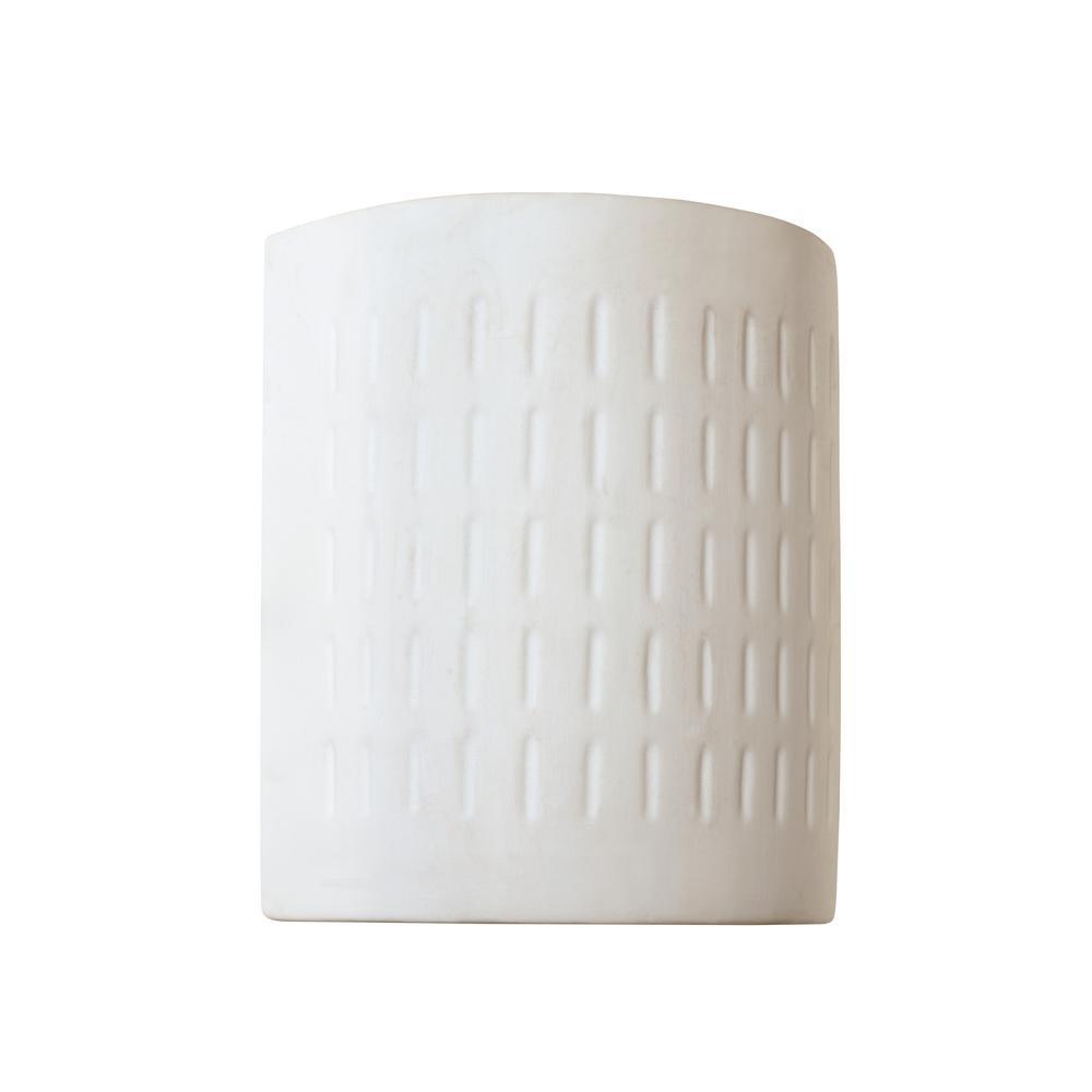 Bel Air Lighting 1 Light Outdoor Fluorescent White Ceramic Half Cylinder Pocket Wall Lantern