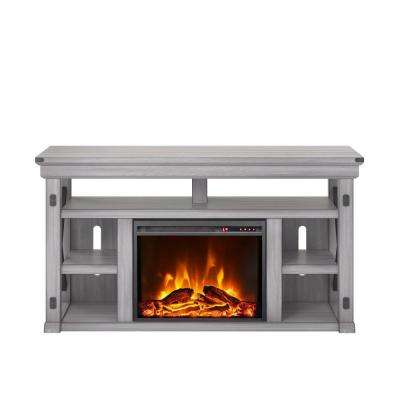 Wildwood Rustic White 60 in. TV Stand with Fireplace