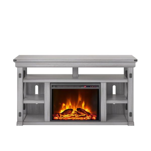 Ameriwood Wildwood Rustic White 60 in. TV Stand with Fireplace 1775296COM