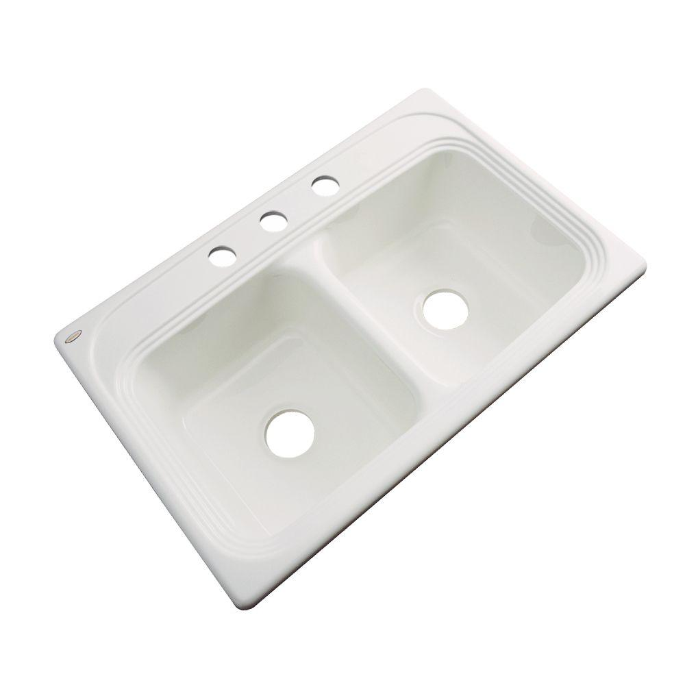 Chesapeake Drop-In Acrylic 33 in. 3-Hole Double Bowl Kitchen Sink in