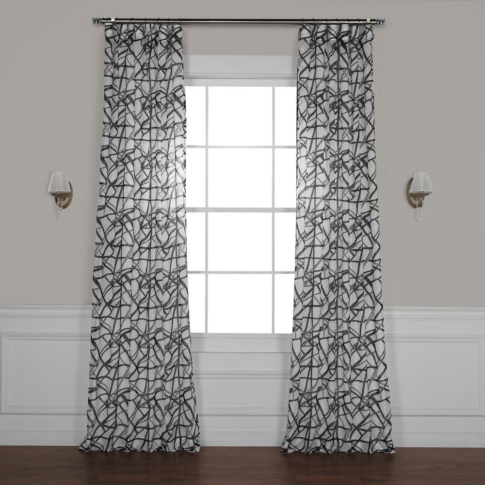 Matrix Black Printed Sheer Curtain - 50 in. W x 108 in. L